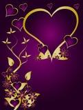 Púrpura y vector de las tarjetas del día de San Valentín del oro Fotografía de archivo