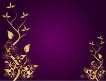 Púrpura y vector floral abstracto del fondo del oro Fotos de archivo