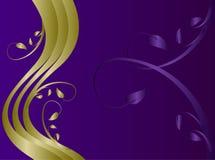 Púrpura y vector floral abstracto del fondo del oro Foto de archivo