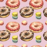 Pączek akwareli ilustracje odizolowywać na białym tle Bezszwowy wzór z kolorowymi donuts z glazerunkiem i fotografia royalty free