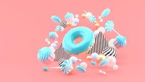 Pączek, babeczki, Macaron, cukierek unosi się wśród kolorowych piłek na różowym tle - royalty ilustracja