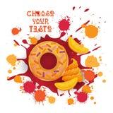 Pączek brzoskwini Kolorowa Deserowa ikona Wybiera Twój smak kawiarni plakat ilustracji