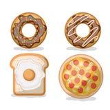 Pączek i chleb z smażącą pizzą w białym tle i jajkiem Obraz Royalty Free