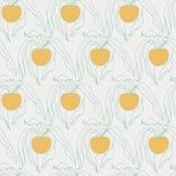 Pęcherzyca ręka Rysujący Bezszwowy wzór na Jasnopopielatym z Pomarańczowym b ilustracja wektor