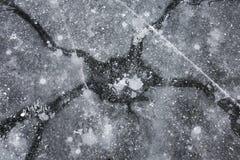 Pęknięcia na lodzie jak galaxy fotografia stock