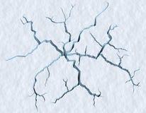 Pęknięcia w śnieżnej powierzchni krakingowy lodowiec Obraz Royalty Free