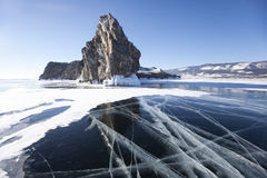 Pęknięcia w lodzie Jeziorny Baikal, Oltrek wyspa Styczeń 33c krajobrazu Rosji zima ural temperatury fotografia stock