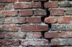 Pęknięcie w bricked ścianie Zdjęcie Royalty Free