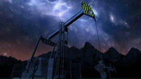 Pętli nafcianej pompy dźwigarka pod nocnym niebem zbiory