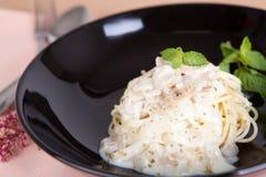 płótna menchii kumberlandu spaghetti stołu biel fotografia stock
