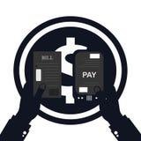 Płacący rachunek, ręki mienie wystawia rachunek wektor Kalkulator ikona Obraz Stock