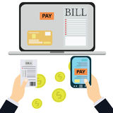 Płacić rachunki, ręki mienia rachunki Kalkulator ikona i Obraz Royalty Free