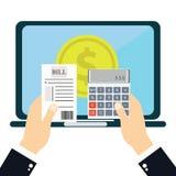 Płacić rachunki, ręki mienia rachunki Kalkulator ikona i Obrazy Royalty Free