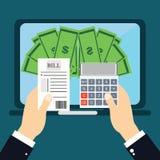 Płacić rachunki, ręki mienia rachunki pojęcia mobilny pieniądze zapłaty telefon Płaska ilustracja Fotografia Royalty Free