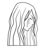 Płaczący kobieta wektor, przemoc domowa, domowy nadużycie, rodzinna przemoc royalty ilustracja