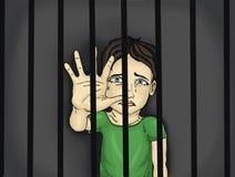 Płacz chłopiec, ręka sygnały zatrzymywać przemoc i boleć Portret ilustracji