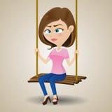 Płacz dziewczyny obsiadanie na huśtawce ilustracji