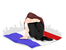 Płacz Francja Ilustracja dla Listopadu 2015 ilustracji