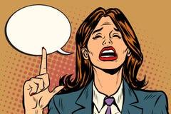Płacz kobieta wskazuje w górę komicznego bąbla royalty ilustracja