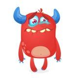 Płakać śliczną potwór kreskówkę Różowa potwora charakteru maskotka Wektorowa ilustracja dla Halloween ilustracja wektor