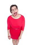 Płakać piękny plus wielkościowa kobieta w szkłach odizolowywających fotografia stock