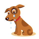 Płakać Psiego Emoji Płakać Psią twarz Smutny płaczu pies ilustracja wektor