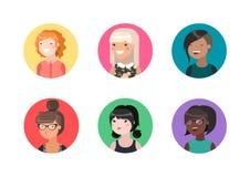Płascy żeńscy avatars Zdjęcia Royalty Free