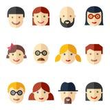 Płascy avatars, twarze, ludzie ikon ilustracji