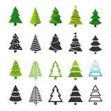Płascy boże narodzenie zimy drzewa z świąteczną xmas dekoracją i czarną jedlinowego drzewa sylwetek wektoru kolekcją ilustracji