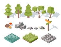 Płascy elementy natura Drzewa, krzaki, kołysają royalty ilustracja