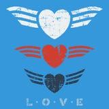Płascy graficzni miłość emblematy Zdjęcia Stock