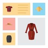 Płascy ikon ubrania Ustawiający Odziewają, Elegancka odzież, Banyan I Inni Wektorowi przedmioty, Także Zawiera suknię, spódnica,  Zdjęcia Royalty Free