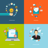 Płascy internetów sztandary ustawiający Kreatywnie pomysł, marketing, handel elektroniczny, Obrazy Royalty Free