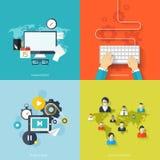 Płascy ogólnospołeczni środki i sieci pojęcie Biznesowy tło, globalna komunikacja Stron internetowych profilowi avatars związek ilustracji