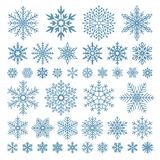 Płascy płatki śniegu Zima płatka śniegu kryształy, boże narodzenie śniegu kształty i frosted chłodno ikony symbolu wektorowy set, royalty ilustracja