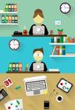 Płascy projekta korporacyjnego biznesu drużyny ludzie siedzi za biurkiem Urzędnicy, frontowy widok Zdjęcie Stock