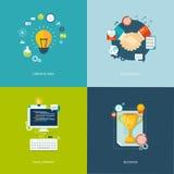 Płascy sztandary ustawiający Kreatywnie pomysł, partnerstwo, rozwój, succe Obrazy Royalty Free