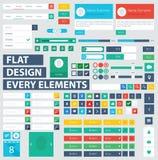Płascy ui zestawu projekta elementy dla webdesign Zdjęcie Stock