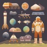 Płascy wektorowi elementy Eksploracja przestrzeni kosmicznej ilustracji