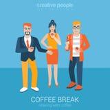 Płascy wektorowi przypadkowi ludzie piją kawę i dymienie papieros Fotografia Stock