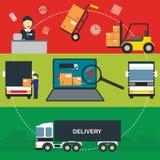 Płascy wektorowi sztandary ustawiający logistycznie proces ilustracja wektor
