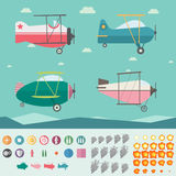 Płaska Gemowa wartość samoloty, tło, ikony, dym i ogienia (Cztery,) Obrazy Stock