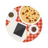 Płaska ikona dla biznesowego kawowej przerwy stołu ilustracji