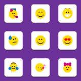 Płaska ikona Emoji Ustawiający kares, pienie royalty ilustracja