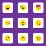 Płaska ikona Emoji Ustawiający Nierad, kares, radość I Inni Wektorowi przedmioty, Także Zawiera Emoji, piosenka, Zmieszani elemen ilustracji