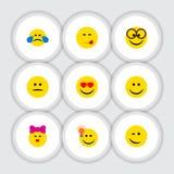 Płaska ikona Emoji Ustawiający Przyjemny, Mrugać, kares I Inni Wektorowi przedmioty, Także Zawiera radość, Emoji, Przyjemni eleme ilustracji