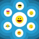 Płaska ikona Emoji Ustawiający Wyśmienicie jedzenie, uśmiech, kares I Inni Wektorowi przedmioty, Także Zawiera Wyśmienicie, uśmie ilustracja wektor