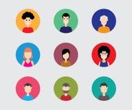 Płaska ikona ustawiająca ludzie, różnorodny wektor stawia czoło Obraz Stock