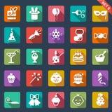 Płaska ikona ustawiająca - przyjęcie Zdjęcie Royalty Free