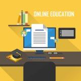 Płaska ilustracja nauczanie online royalty ilustracja